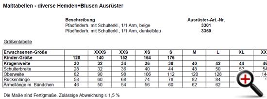 416d7ea6128f Größentabellen - Größentabellen - Der Ausrüster