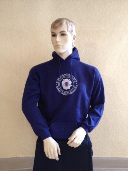 Kapuzen-Sweat-Shirt, blau, mit Lutherrose