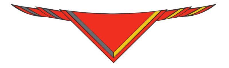 Halstuch, Q. rot mit Borte schwarz/dkl. gelb