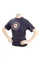 T-Shirt, (Damen) mit aufgedrucktem Ringabz. blau